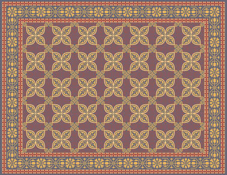 ottoman fabric: Multicolored Rug with a Traditional Look  Illustration