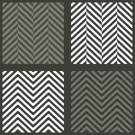 4 seamless swatches with lambdoidal herringbone patterns Vector