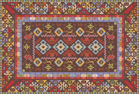 ottoman fabric: Oriental nomadic type carpet design Illustration