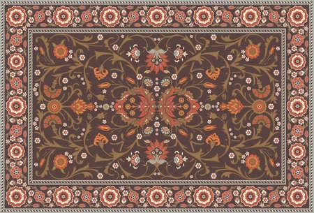 깔개: 꽃의 모든 오버 러그 레이아웃 부드러운 지구 색상 설정 일러스트