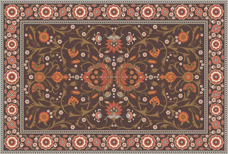 kilim: All-over Floral Rug Layout set in a soft earth color scheme  Illustration