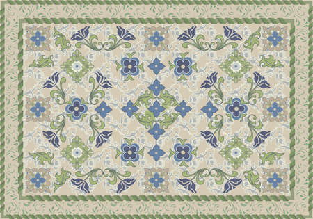 wool rugs: Vintage Style Floral and Leafy Carpet Design Illustration