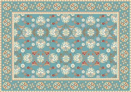 青の東洋の花のカーペットのデザイン