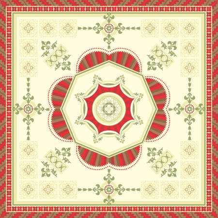 Ornamental square carpet designed in the romanesque style