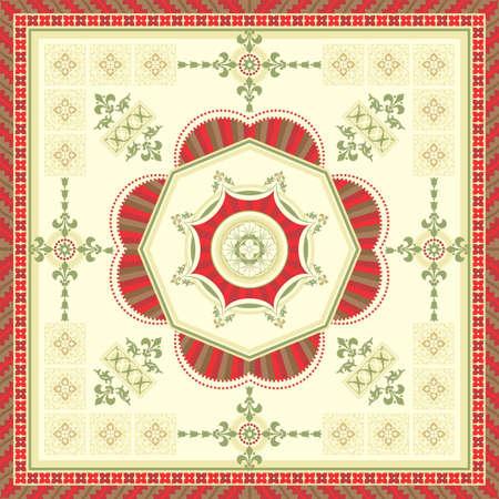 romanesque: Ornamental square carpet designed in the romanesque style