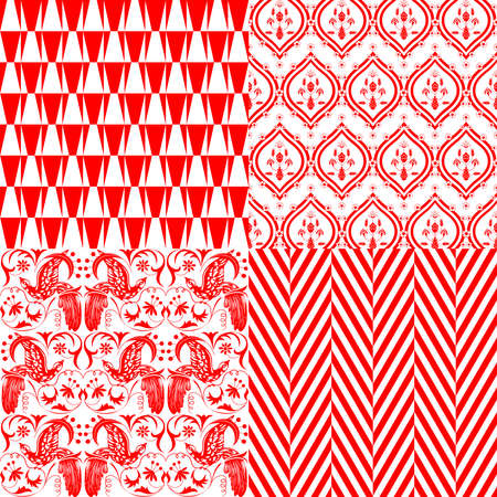 Red and white repeating patterns Vector