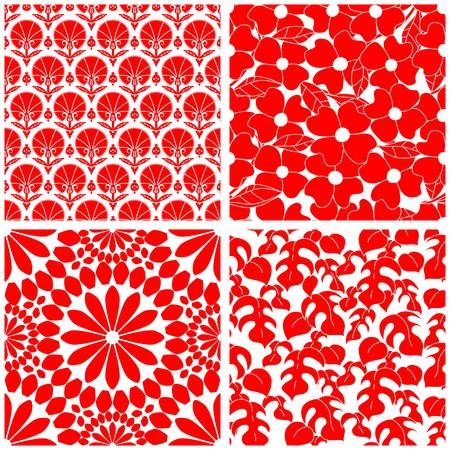 Set of red and white seamless patterns