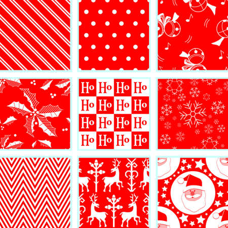 9 Christmas Repeating Patterns Vector