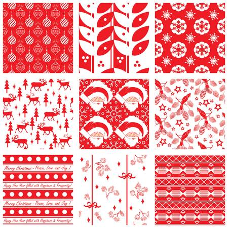Collection of seamless Christmas swatches Vector