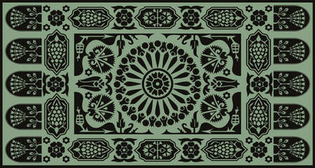 Ottoman style monochrome floral carpet design Vector