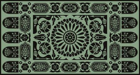 Ottoman style monochrome floral carpet design Vector