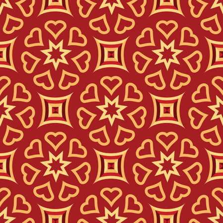 Christmas Repeating Gold and Burgundy Pattern Vector