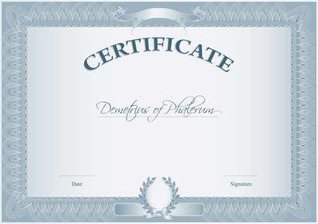 reconnaissance: Blank r�tro mod�le de certificat Illustration