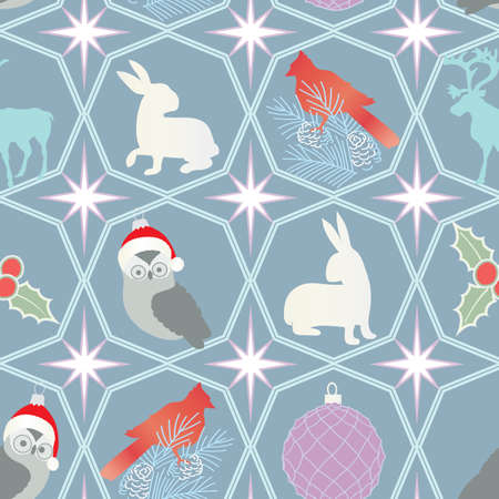 Repeating holiday background with Christmas ornaments and wildlife Illustration