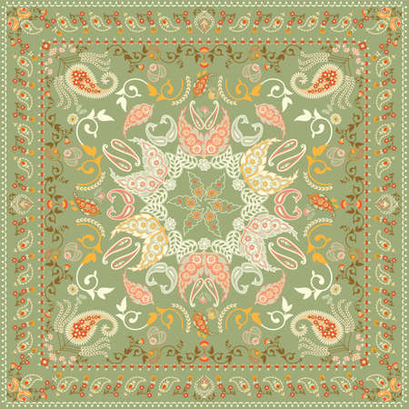 Decorated shawl design featuring paisley pattern Vector