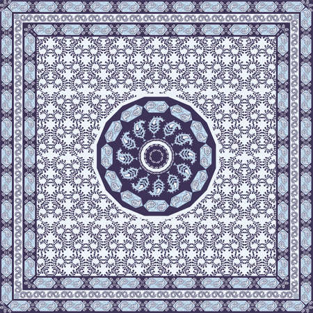 Blue Bandana Scarf with Traditional Boteh Pattern Vector
