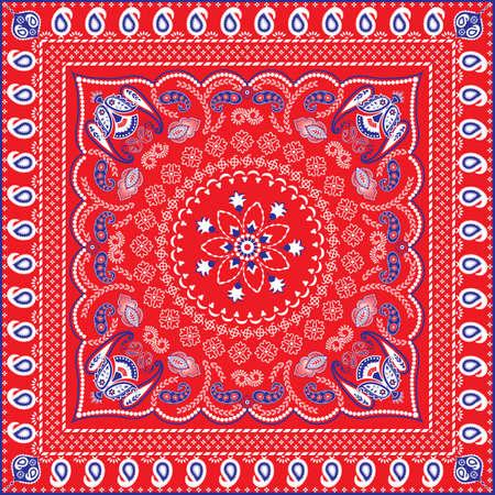 赤、青、白いレトロ柄バンダナまたはヘッド スカーフ