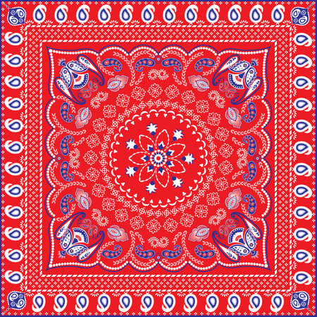 Red, Blue, White Retro Patterned Bandana or Head Scarf Vector