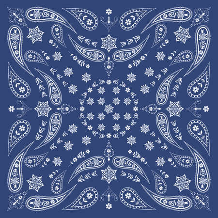 Bandana Scarf with Paisley and Floral Pattern Vector