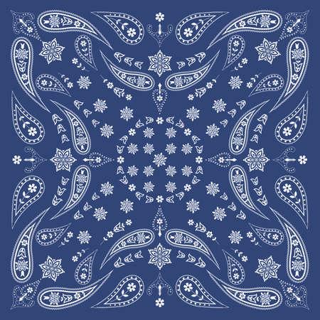 kopftuch: Bandana Schal mit Paisley-und Blumenmuster Illustration