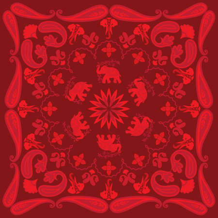 Asian Elephant and Paisley Bandanna Design Vector
