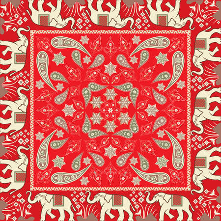 Bandana With Elephant Motif