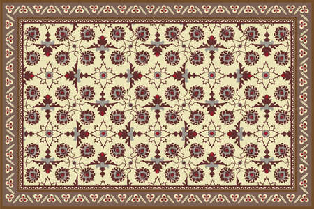 Antique style stylized floral rug Vector