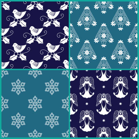 4 Christmas gift wrapping paper designs Vector