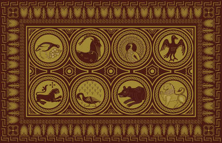 Ancient style carpet design Illustration