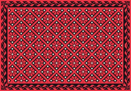 curvilinear: Retro red floral carpet