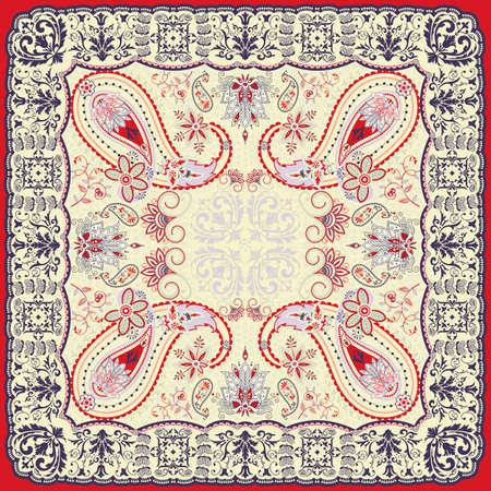 silk scarf: Floral paisley scarf design