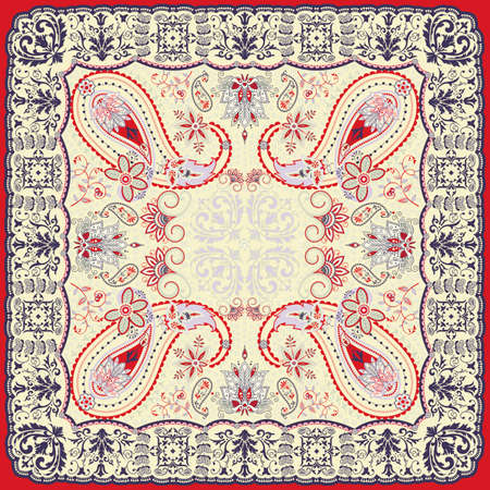 Floral paisley scarf design