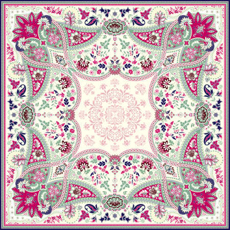 textile fabrics: Detailed floral scarf design Illustration