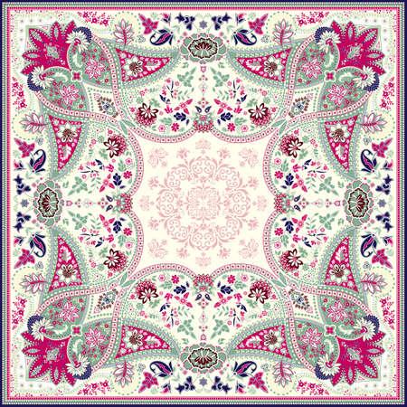 disegni cachemire: Dettagliato disegno foulard floreale Vettoriali