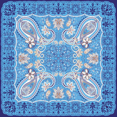 Blue Paisley Scarf Design Illustration