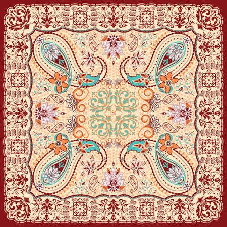 ペイズリー花柄スカーフ デザイン