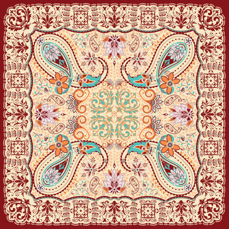 scarf: Paisley floral scarf design