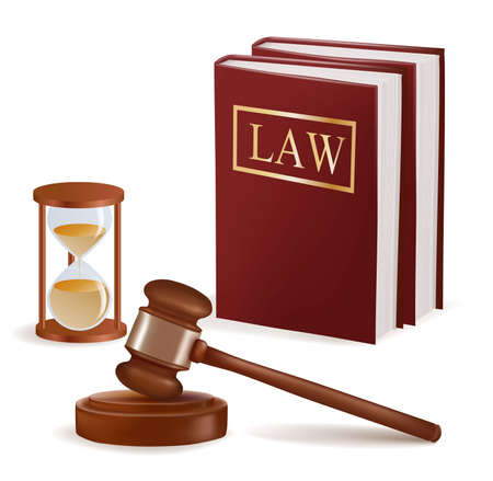 to sue: Judge gavel, sandglass and law books. Photo-realistic vector.