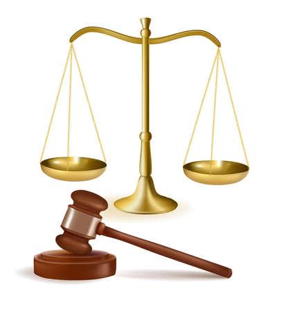 balanza de la justicia: Martillo de juez con escalas. Ilustraci�n vectorial.