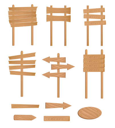 wooden post: Conjunto de signo de madera. Ilustraci�n vectorial.