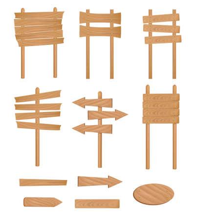 wooden post: Set of wooden sign. Vector illustration.