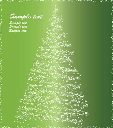 merrily: Albero di Natale stilizzato su sfondo verde.