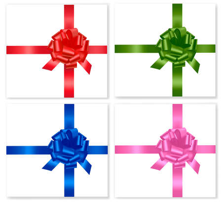 Big set of gift bows with ribbons. Vector