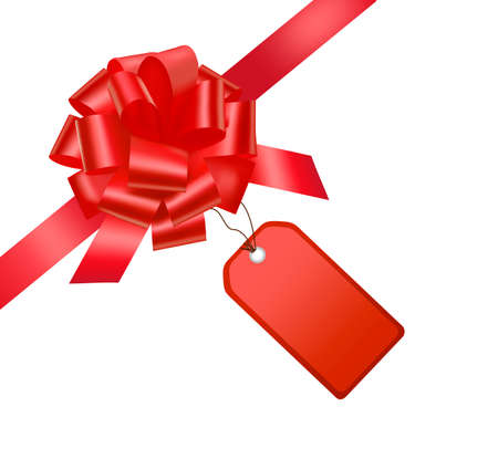 Gift red ribbon and bow with card. Stock Vector - 9934321