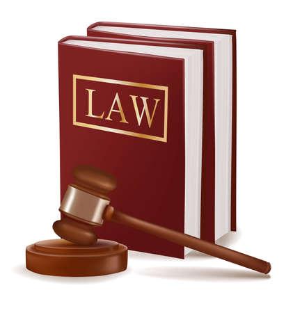 derecho penal: Juez libros de derecho y martillo. Fotorrealistas