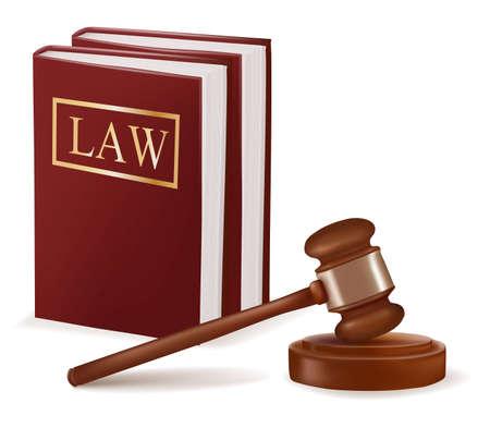 Sędzia młotek i prawa książek. Foto-realistyczny