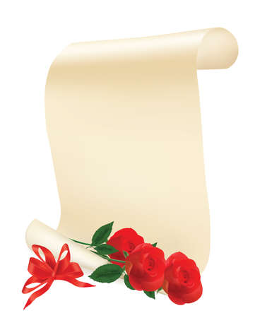 Red roses with roll of paper. Vector