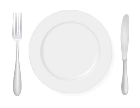 silver ware: Plate, knife and fork.