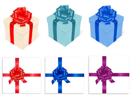 Colored gift boxes and ribbon  Stock Vector - 10040407