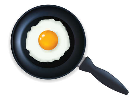 fried: Fried egg in a frying pan.